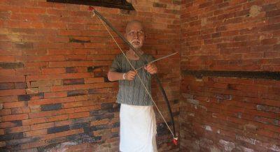 Man statude in Gorkha Durbar Lower Manaslu Trekking