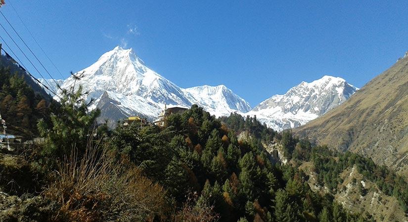 Mt. Manaslu view from Lho village in Manaslu Trekking