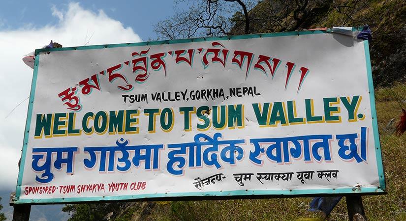 Tsum Valley Trek sigh board