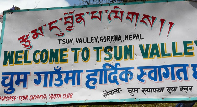 Sign board direct way to tsum valley trek