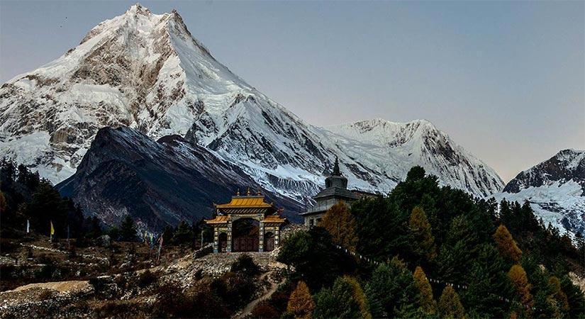 Mt. Manaslu view from Lho village of Manaslu Two Passes Trek