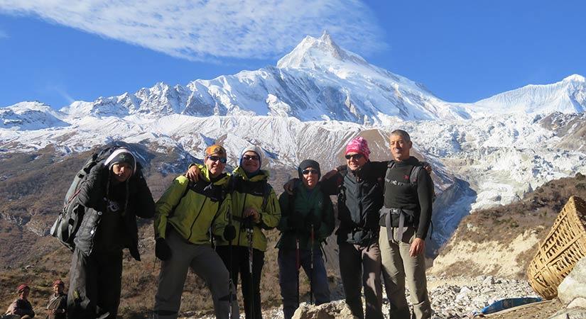 Mount manaslu with trekkers