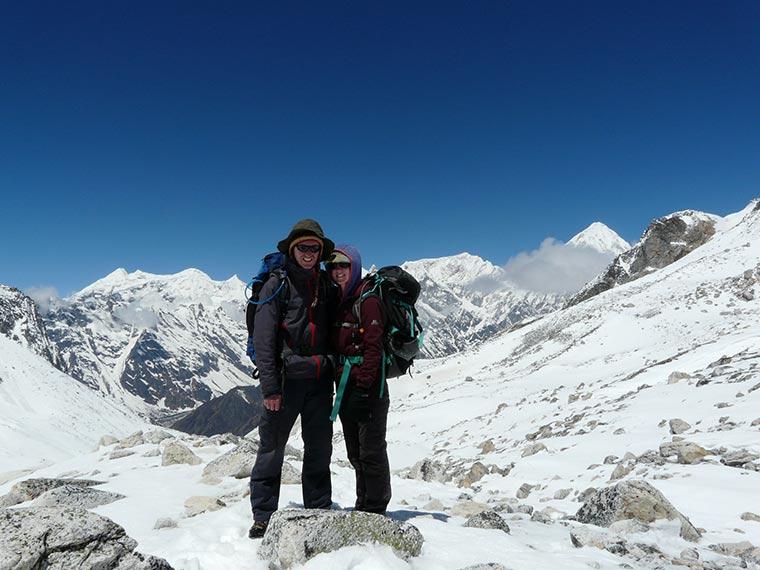 British couple on Larke La Pass Top 5130M during there  Manaslu trip.